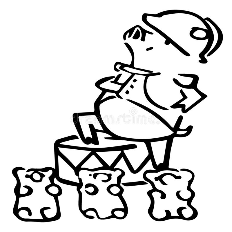 Maiale sveglio di millefoglie del fumetto di vettore con gli orsi di gummi illustrazione di stock