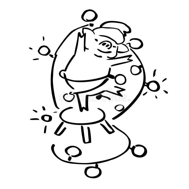 Maiale sveglio di vettore del fumetto con la ghirlanda di natale royalty illustrazione gratis