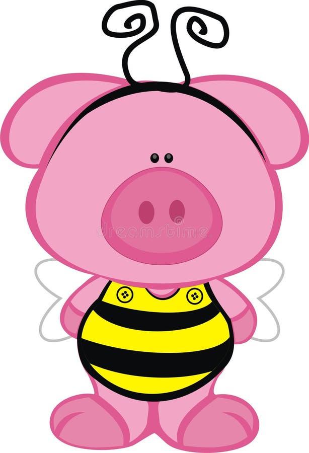 Maiale in un costume dell'ape illustrazione vettoriale