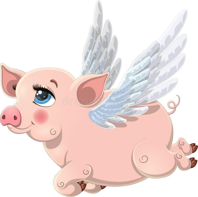 Maiale volante rosa grazioso con le ali isolate su fondo bianco fotografia stock libera da diritti