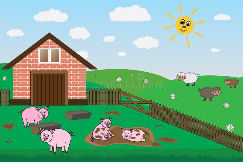 Maiali, pecore sull'azienda agricola, pascolo, vettore illustrazione di stock