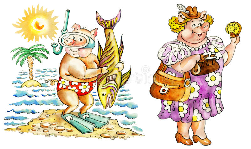 Maiali sulla vacanza illustrazione di stock