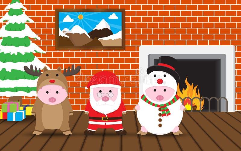 Maiali svegli di vettore 3 in renna, Santa Claus, vestito del pupazzo di neve royalty illustrazione gratis