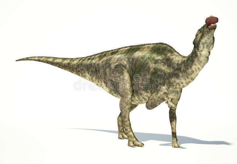 Maiasaura dinosaurie, photorealistic framställning. Dynamisk sikt. royaltyfri illustrationer