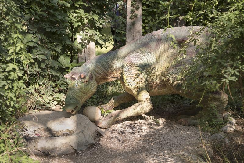 Maiasaura- Recent Krijtachtig /74 miljoen jaren geleden In Dinopa stock fotografie