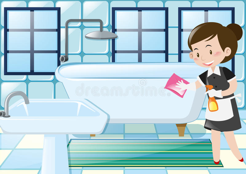 Download Maid Cleaning Bathtub In The Bathroom Stock Vector   Illustration  Of Clean, Illustration: