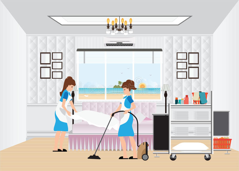 maid cleaning hotel room with housekeeping trolley stock. Black Bedroom Furniture Sets. Home Design Ideas
