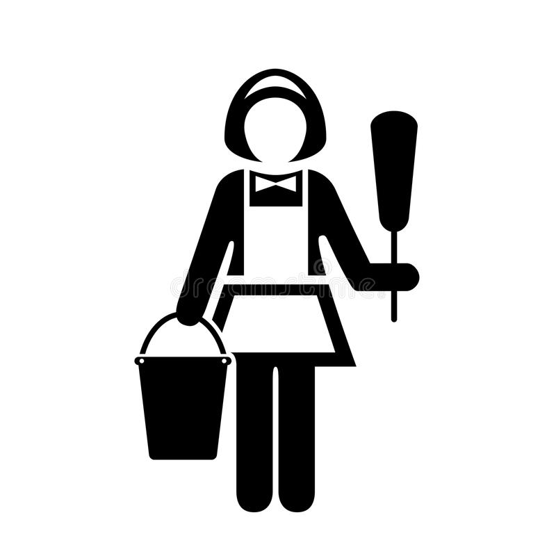 Maid with dust cleaner vector icon royalty free illustration
