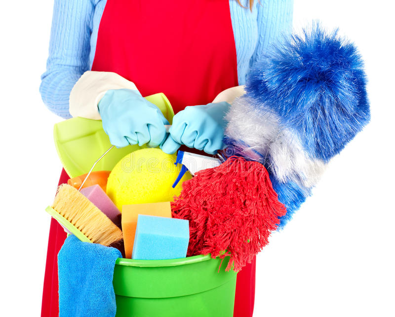 Maid hands with cleaning tools. stock photo