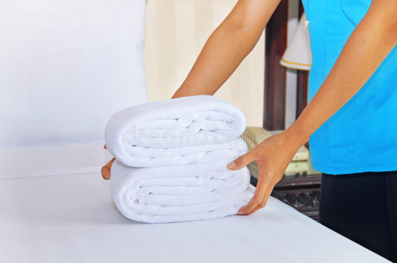 Maid in the process at work royalty free stock images
