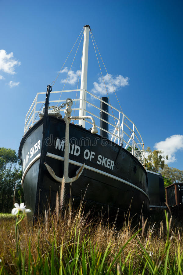 Maid of Sker Paddle Steamer. A 130 year old paddle steamer called the Maid of Sker on display at a public park in Nerang in Queensland in Australia. The paddle stock photography