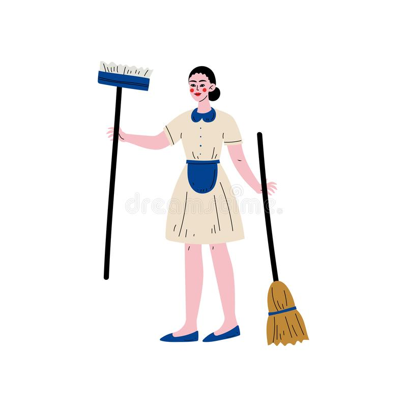 Maid Standing with Mop and Broom, Cleaning Lady Character Wearing Uniform Vector Illustration royalty free illustration