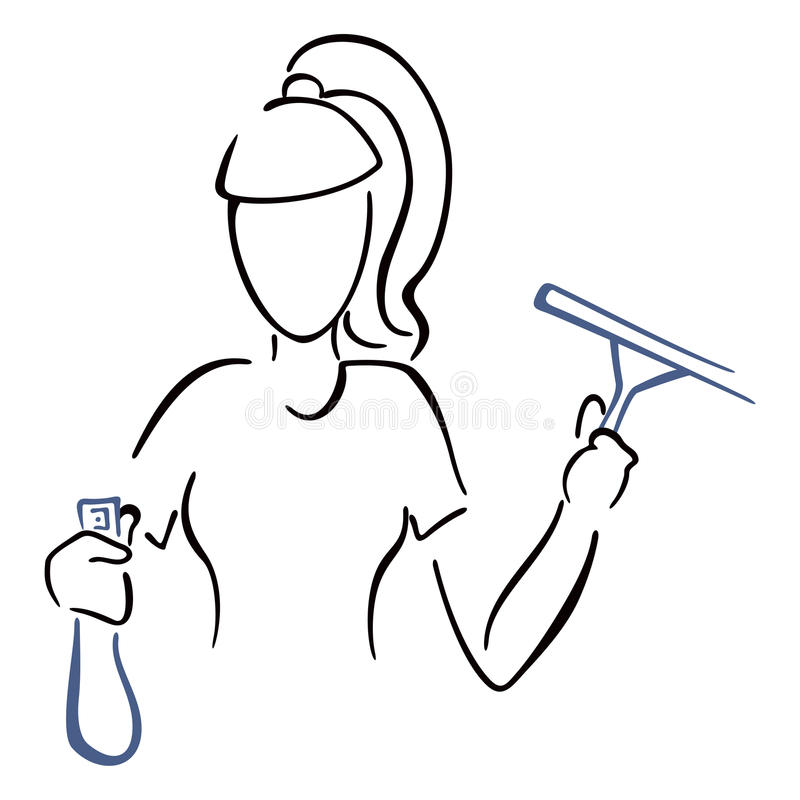 Download Maid at work stock vector. Image of outline, house, glass - 31960961