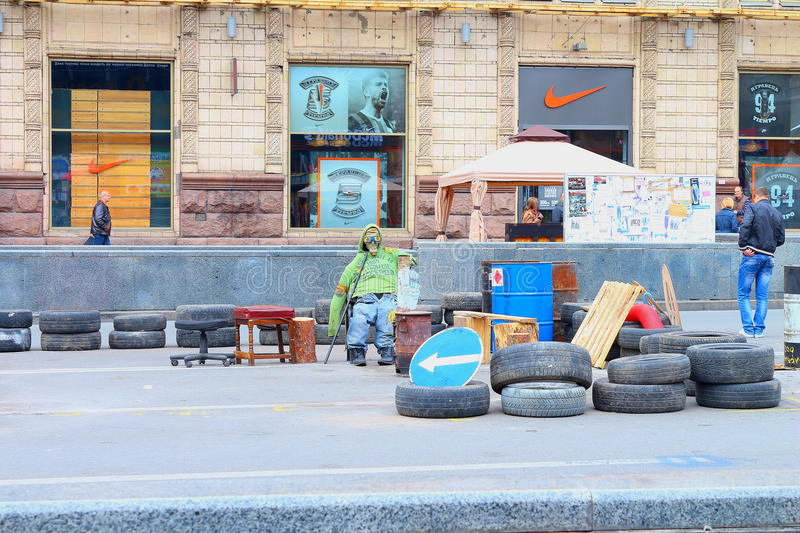 Maidan barricades. After the events of 2014 in Ukraine royalty free stock image
