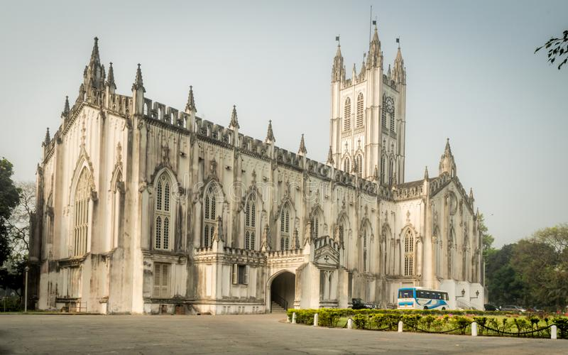 A wide angle view of the Saint Paul`s Cathedral on a sunny Sunday Morning stock photo