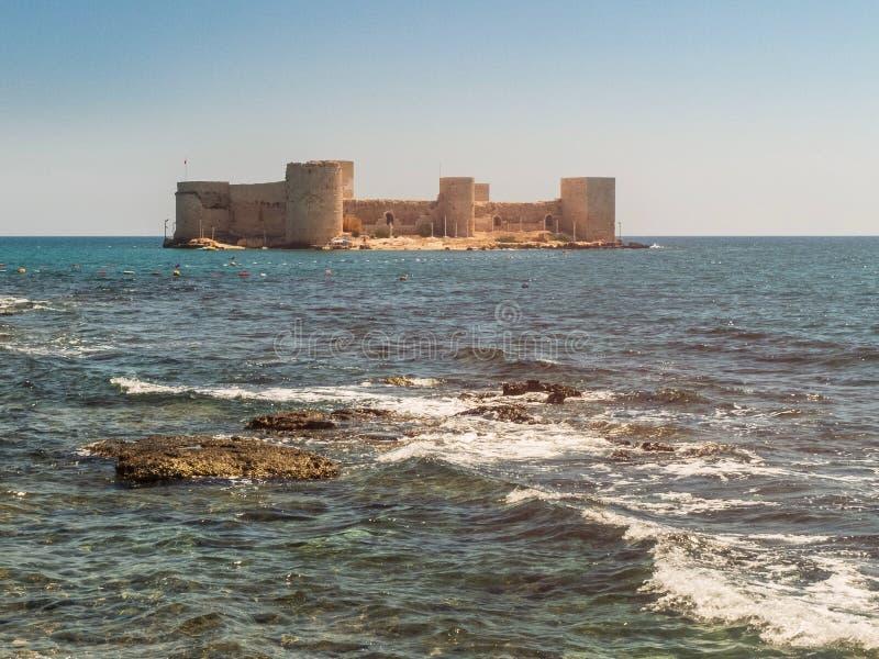 Maiden`s Castle, also known as Deniz kalesi also known as Kizkalesi. Mersin Province, Turkey.  royalty free stock image