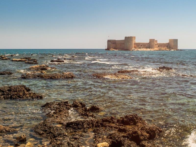 Maiden`s Castle, also known as Deniz kalesi also known as Kizkalesi. Mersin Province, Turkey.  stock photos