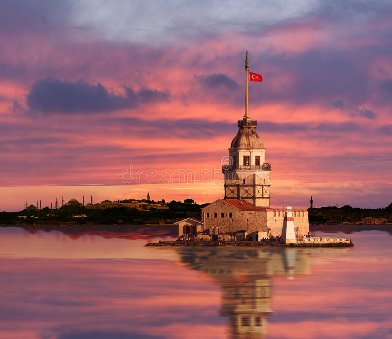 Maiden's Tower. Maiden Tower and the Old City Silhouette in Istanbul Turkey royalty free stock photography