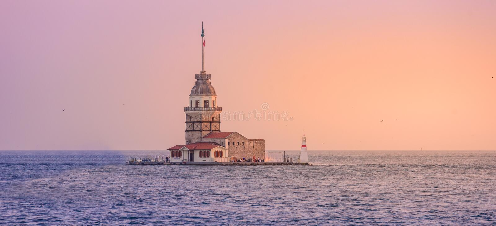 Maiden's Tower (also known as Leander's Tower or Kiz Kulesi) on the Bosphorus in Istanbul at sunset , Turkey stock image