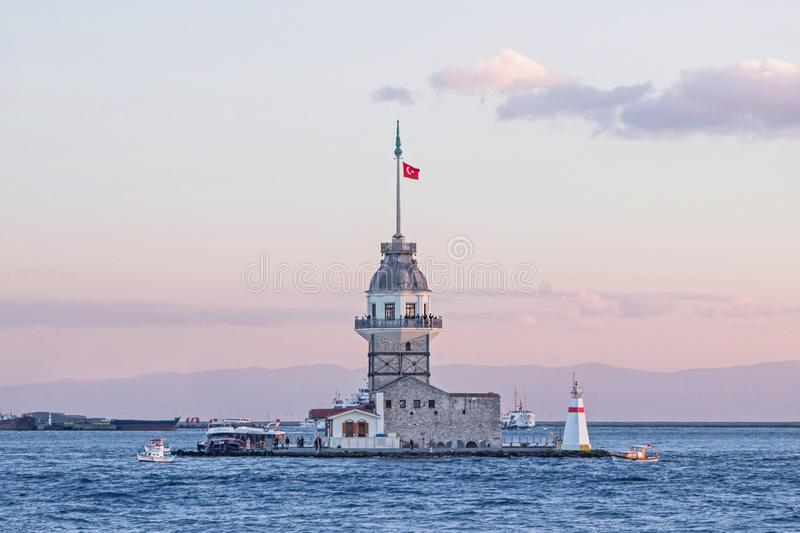 The Maiden`s Tower in Ocean in Istanbul royalty free stock photography