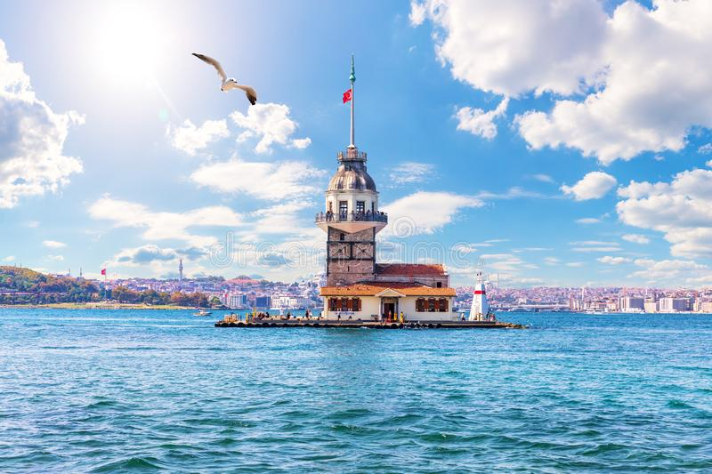 The Maiden`s Tower in the Bosphorus, Istanbul, Turkey royalty free stock images