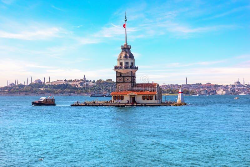 Maiden`s Tower in the Bosphorus straight, Istanbul, Turkey.  stock photo