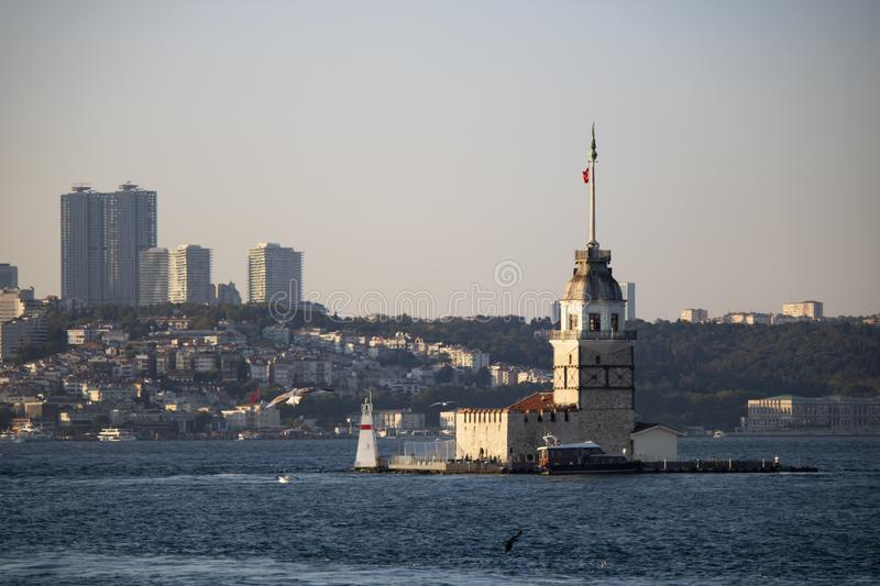 Maiden's Tower and city landscape. It was taken during sunset stock photography