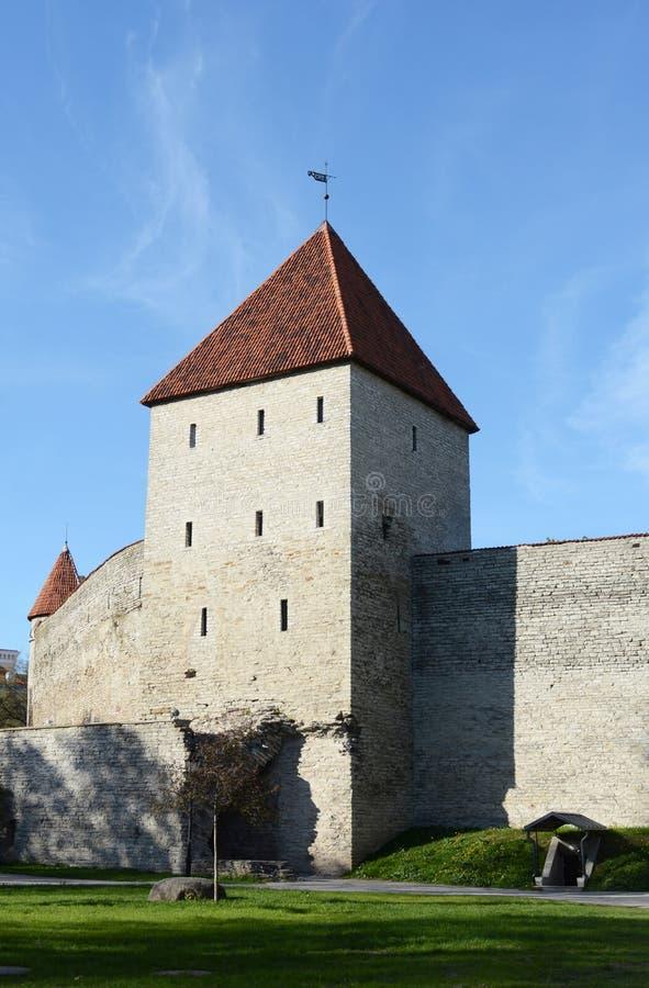 Maiden`s Tower in the city wall of Tallinn, Estonia stock photography