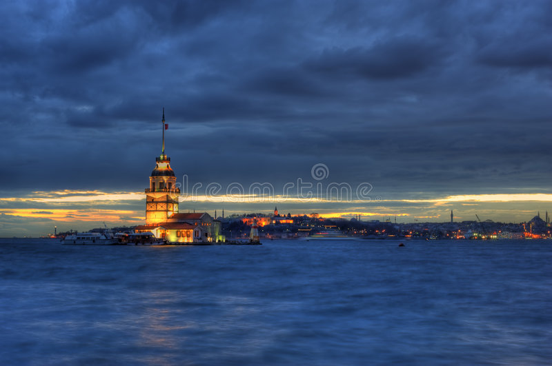Maiden's Tower in Istanbul stock image