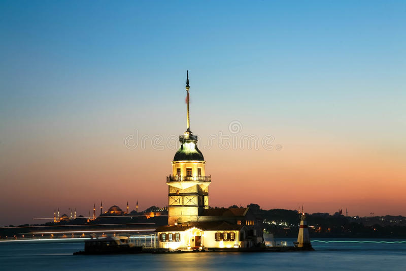 Maiden's Tower. Istanbul Maiden Tower from the east in sunset. In the distance are such landmarks as Blue Mosque, Hagia Sophia and Topkapi Palace stock images