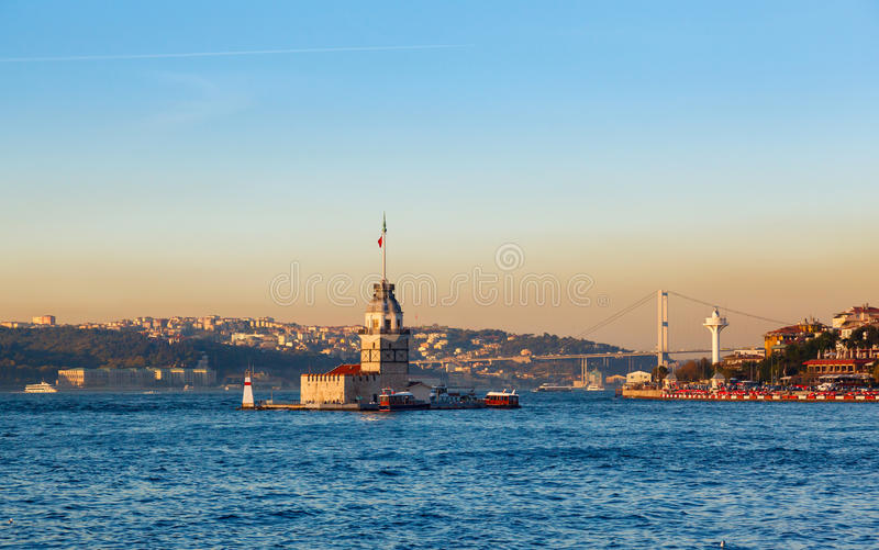 The Maiden`s Tower in istanbul, Turkey stock photography