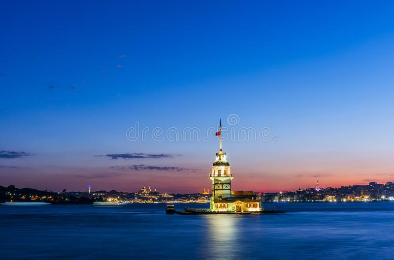 Maiden`s Tower in Istanbul, Turkey stock photography