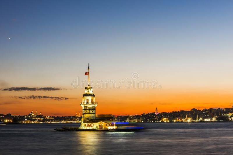 Maiden`s Tower in Istanbul, Turkey royalty free stock images