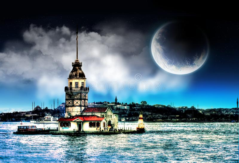 Maiden`s Tower in istanbul Turkey. Night beautiful moon sky design royalty free stock image
