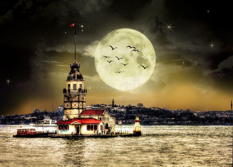 Maiden`s Tower in istanbul Turkey. Night beautiful stars sky design stock photo
