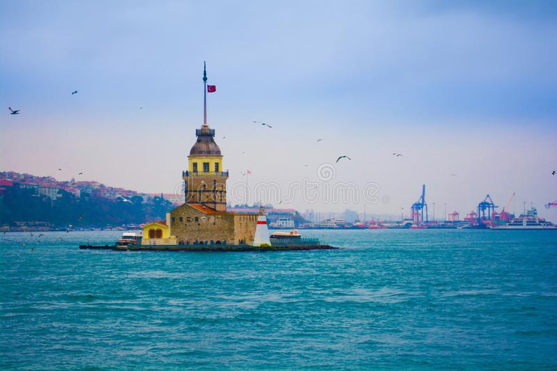 Maiden`s tower, kiz kulesi at bosphorus istanbul one of the symb royalty free stock image