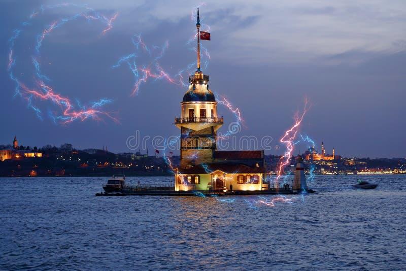 Maiden`s Tower kiz kulesi in istanbul - Turkey stock photo