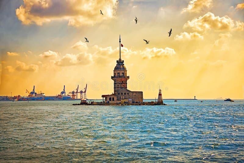 Maiden`s Tower or Kizkulesi - famous historical landmarks of Istanbul, Turkye. Maiden`s Tower or Kizkulesi in Istanbul during sunset. Leander`s Tower - medieval stock photography