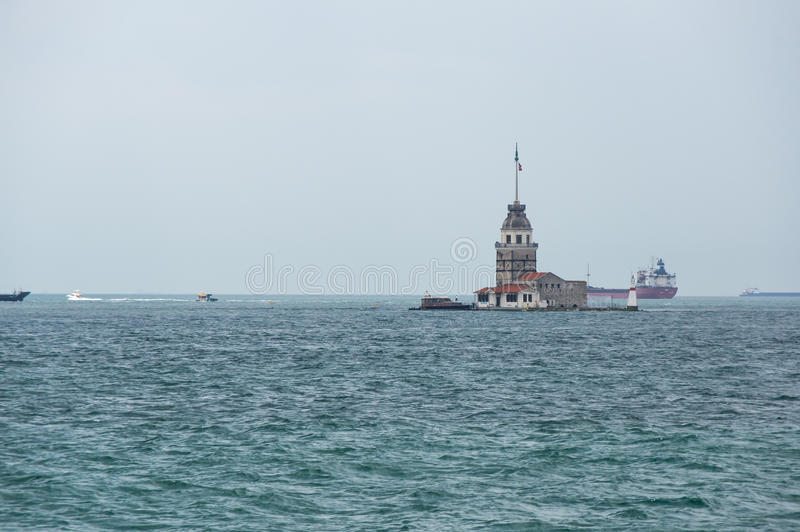 Maiden`s Tower. Leander`s Tower on Bosphorus in Istanbul, Turkey royalty free stock photo