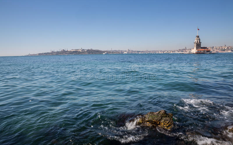 Maiden's Tower lighthouse wide angle in Istanbul stock image