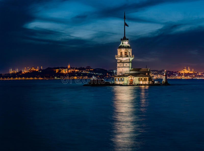 Maiden`s Tower and The Old Town Istanbul stock photos