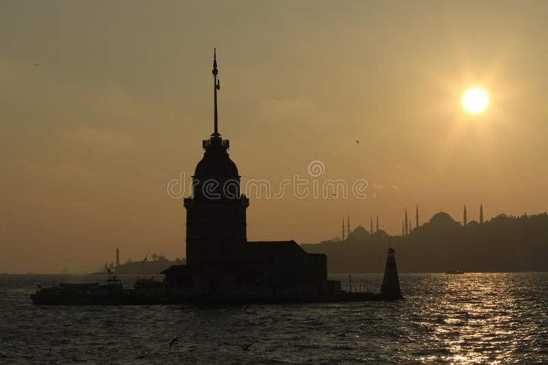 Maiden s Tower in sunset. Istanbul, Turkey. royalty free stock photography