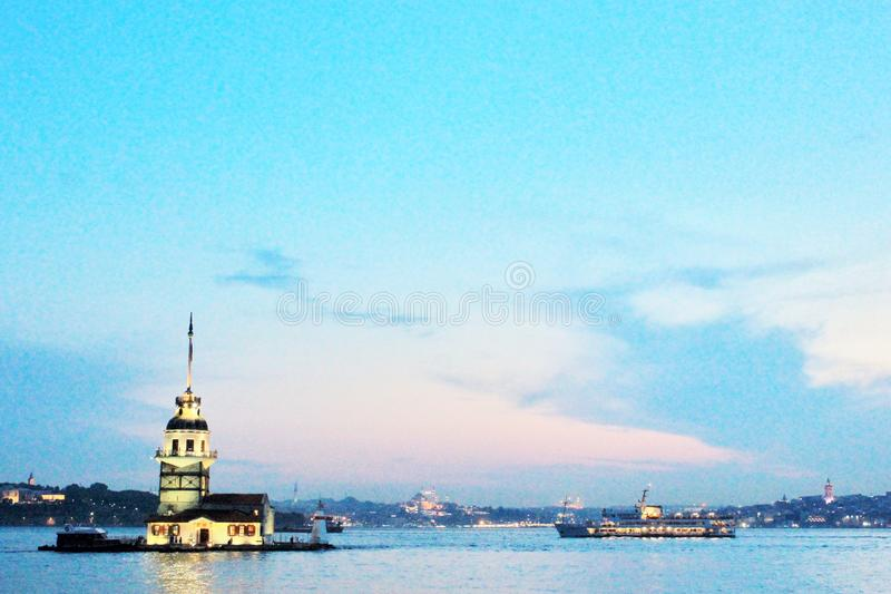 Maiden& x27;s tower at the sunset and Bosphorus view stock photography