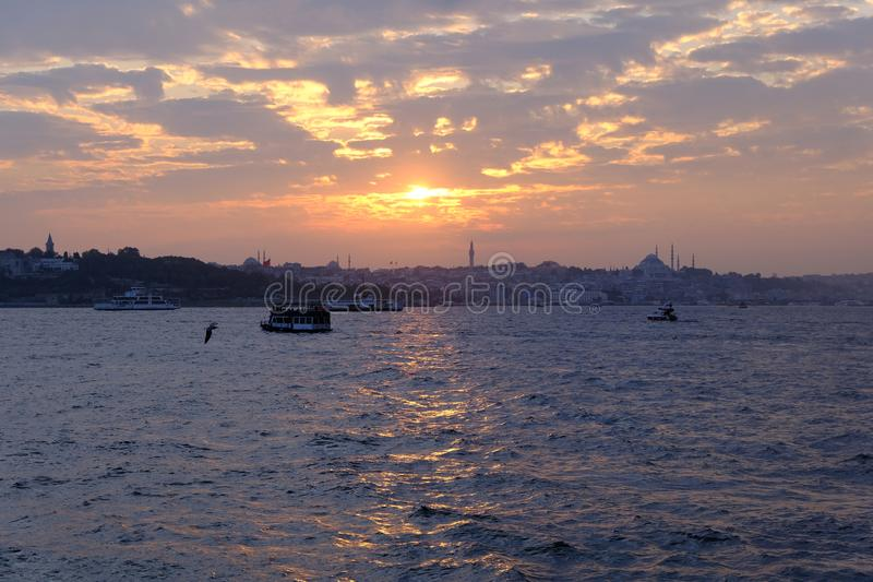 Maiden`s Tower with sunset sky in Istanbul, Turkey KIZ KULESI - USKUDAR.  royalty free stock photos