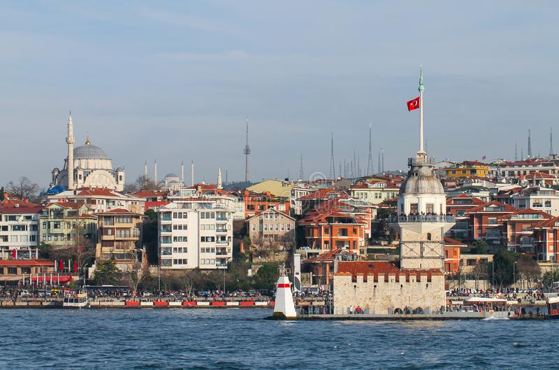 Maiden`s Tower on an urban background. Istanbul. stock image