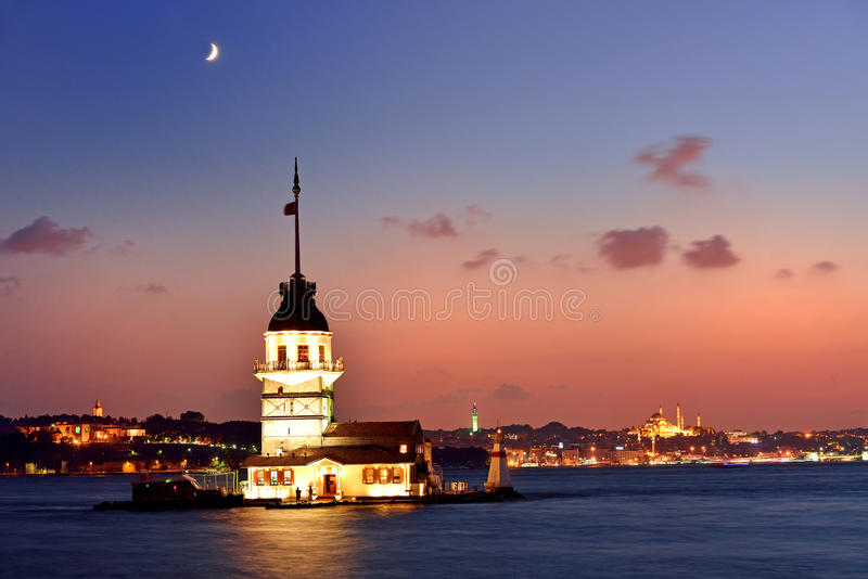 Maiden S Tower View At Night With Crescent. Istanbul Turkey Royalty Free Stock Photo