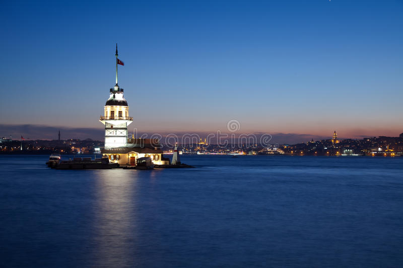 Maiden tower 2. Maiden tower at the night istanbul turkey royalty free stock image