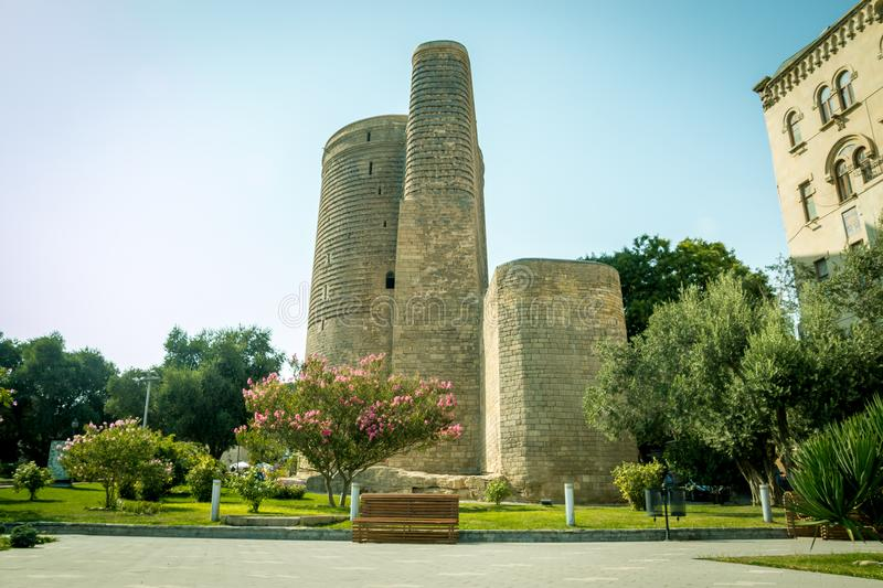 The Maiden Tower also known as Giz Galasi, located in the Old City in Baku, Azerbaijan. Maiden Tower was built in the stock images