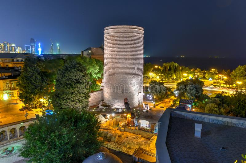Maiden Tower - Baku, Azerbaijan. The Maiden Tower also known as Giz Galasi, located in the Old City in Baku, Azerbaijan at night. Maiden Tower was built in the stock image