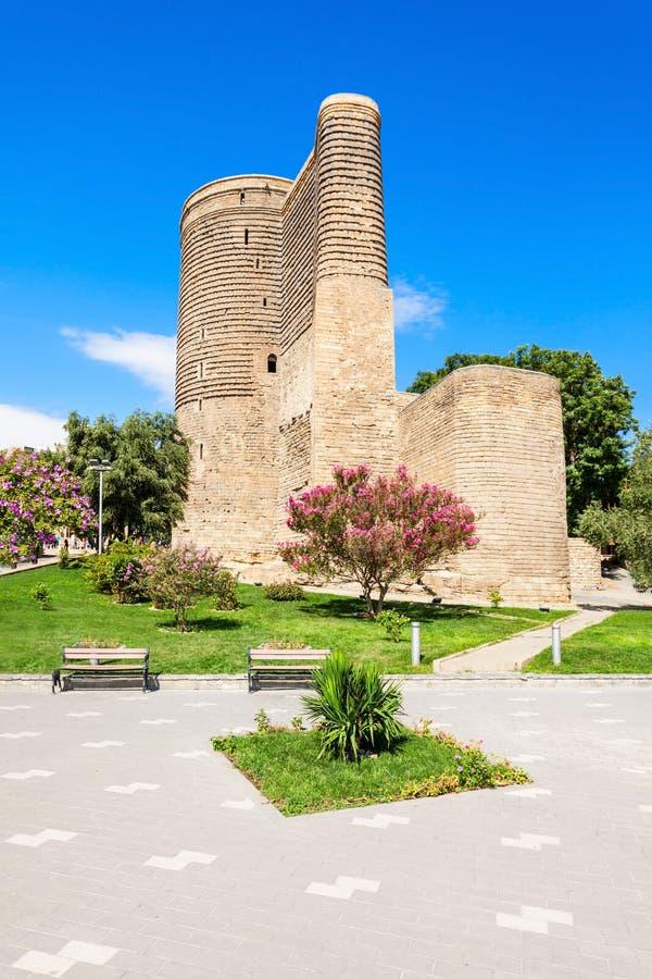 Maiden Tower in Baku stock photo